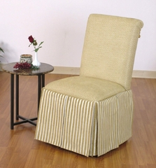 Skirted Parsons Chair in Creme with Yellow Stripes - 4D Concepts - 551387