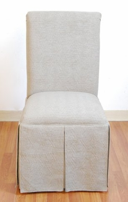 Skirted Parsons Chair in Textured Tonal Taupe - 4D Concepts - 550178