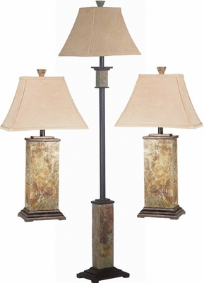 Slate 2 Tables Lamp and Floor Lamp Set - Kenroy Home - 31207