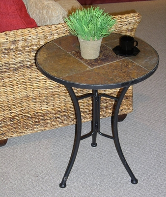 Slate Round Top Coffee Table - 4D Concepts - 601404