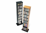 Slim Multimedia Storage Tower in Oak/Black - Prepac Furniture - OMA-0160