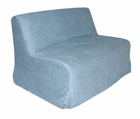 Slipcover for Full Size E-Frame in Distressed Denim - Deco Pleated - 33-1414-636