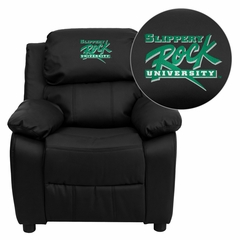 Slippery Rock University Embroidered Black Leather Kids Recliner - BT-7985-KID-BK-LEA-41070-EMB-GG