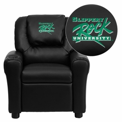 Slippery Rock University Embroidered Black Vinyl Kids Recliner - DG-ULT-KID-BK-41070-EMB-GG