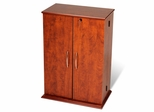 Small Locking Media Storage Cabinet in Cherry/Black - Prepac Furniture - CVS-0136
