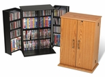Small Locking Media Storage Cabinet in Oak/Black - Prepac Furniture - OVS-0136
