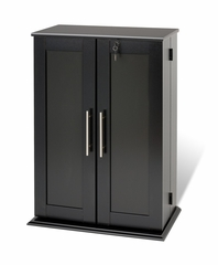 Small Locking Media Storage Cabinet with Shaker Doors in Black - Prepac Furniture - BLS-0192
