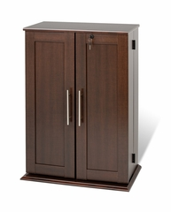 Small Locking Media Storage Cabinet with Shaker Doors in Espresso - Prepac Furniture - ELS-0192