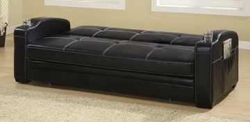 Sofa Bed in Black Vinyl - Coaster - 300132
