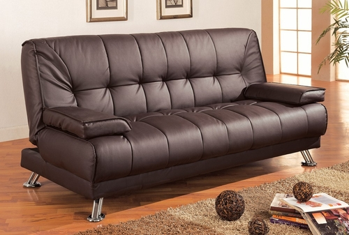 Sofa Bed in Brown Vinyl - Coaster - 300148