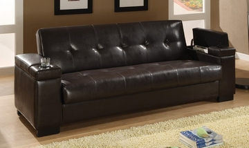 Sofa Bed in Dark Brown Vinyl - Coaster - 300143