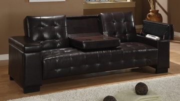 Sofa Bed in Dark Brown Vinyl - Coaster - 300145