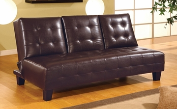 Sofa Bed in Dark Brown Vinyl - Coaster - 300153