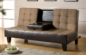 Sofa Bed in Tan Microfiber / Dark Brown Vinyl - Coaster - 300237