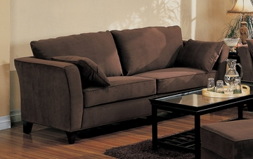 Sofa in Bella Velvet in Chocolate Fabric - Coaster