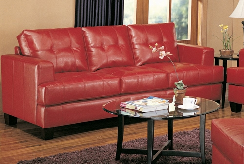 Sofa in Red Leather - Coaster