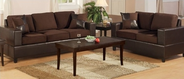 Sofa / Loveseat Set in Chocolate - F7591