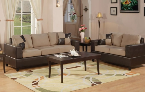 Sofa / Loveseat Set in Hazelnut - F7595