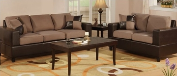 Sofa / Loveseat Set in Saddle - F7592