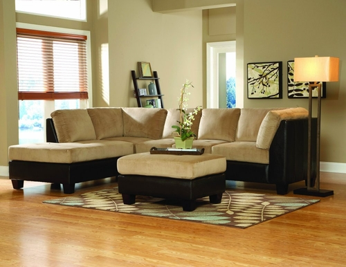 Sofa Sectional Set in Brown Bella Microfiber / Bi-cast Vinyl - 9838BR-SET