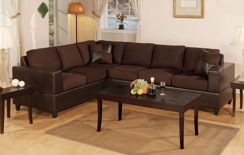 Sofa Sectional Set in Chocolate - F7631