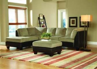 Sofa Sectional Set in Herbal Bella Microfiber / Bi-cast Vinyl - 9838HB-SET