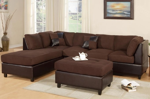 Sofa Sectional Set (Reversible) with Ottoman in Chocolate - F7615