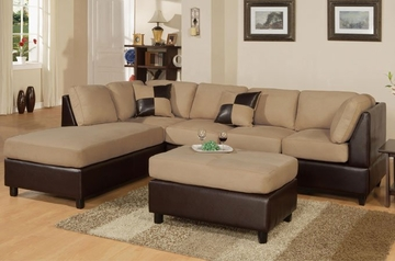 Sofa Sectional Set (Reversible) with Ottoman in Hazelnut - F7619