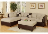 Sofa Sectional Set (Reversible) with Ottoman in Mushroom - F7618