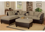 Sofa Sectional Set (Reversible) with Ottoman in Pebble - F7617