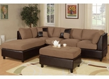 Sofa Sectional Set (Reversible) with Ottoman in Saddle - F7616