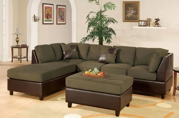 Sofa Sectional Set (Reversible) with Ottoman in Sage - F7620