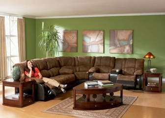 Sofa Set - 3 Piece in Palomino Brown Fabric with Dark Brown - Coaster