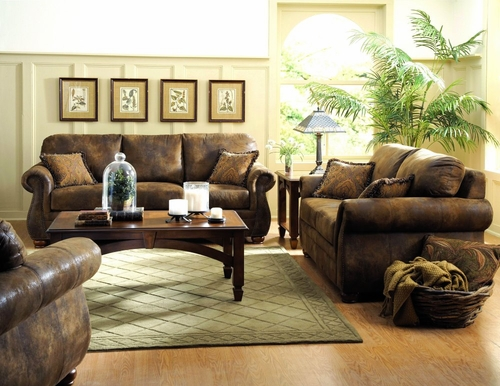 Sofa Set 8-Way-Hand-Tied in Bomber-Jacket Microfiber - 9936M-SET