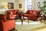 Sofa Set 8-Way-Hand-Tied in Coral Red Microfiber - 9837RD-SET