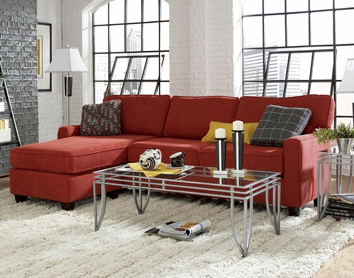 Sofab Faith Sofa with Reversible Chaise in Tomato - 1295M