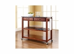 Solid Black Granite Top Classic Cherry Kitchen Cart / Island - Optional Stool Storage - CROSLEY-KF30054CH