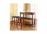 "Solid Black Granite Top Kitchen Cart / Island in Classic Cherry with 24"" Saddle Stools - CROSLEY-KF300544CH"