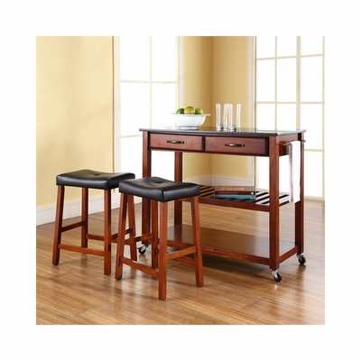 Solid Black Granite Top Kitchen Cart / Island in Classic Cherry with 24