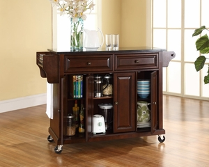 Solid Black Granite Top Kitchen Cart/Island in Vintage Mahogany - CROSLEY-KF30004EMA