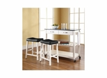 "Solid Black Granite Top Kitchen Cart / Island in White with 24"" Saddle Stools - CROSLEY-KF300544WH"