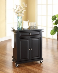 Solid Black Granite Top Portable Kitchen Cart/Island in Black - CROSLEY-KF30024EBK