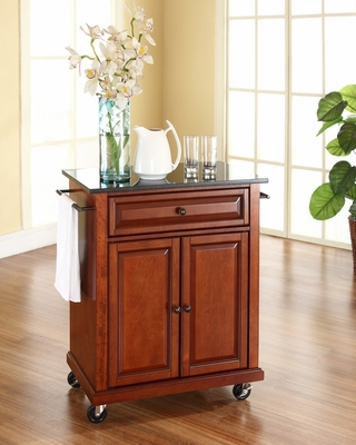 Solid Black Granite Top Portable Kitchen Cart/Island in Classic Cherry - CROSLEY-KF30024ECH