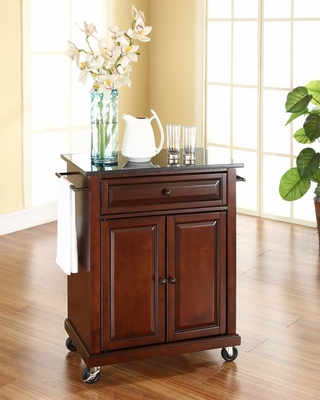 Solid Black Granite Top Portable Kitchen Cart/Island in Vintage Mahogany - CROSLEY-KF30024EMA