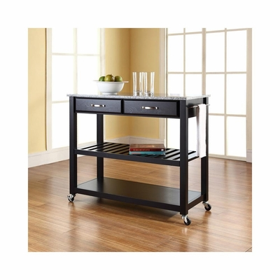 Solid Granite Top Black Kitchen Cart / Island - Optional Stool Storage - CROSLEY-KF30053BK