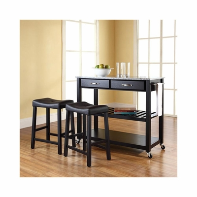 Solid Granite Top Black Kitchen Cart / Island with 24