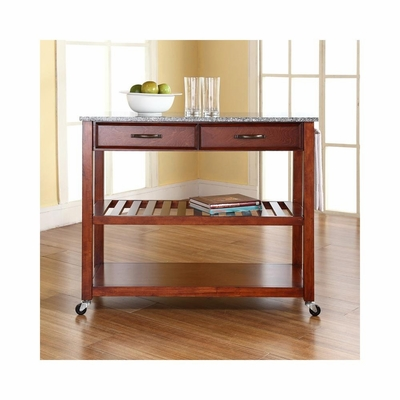 Solid Granite Top Classic Cherry Kitchen Cart / Island - Optional Stool Storage - CROSLEY-KF30053CH