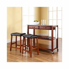 "Solid Granite Top Classic Cherry Kitchen Cart / Island with 24"" Saddle Stools - CROSLEY-KF300534CH"