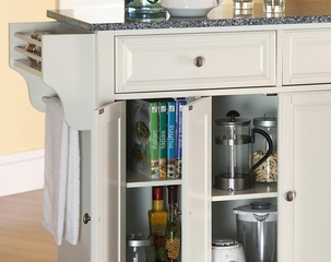 Solid Granite Top Kitchen Cart/Island in White Finish - Crosley Furniture - KF30003EWH