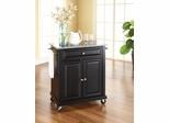 Solid Granite Top Portable Kitchen Cart/Island in Black - CROSLEY-KF30023EBK